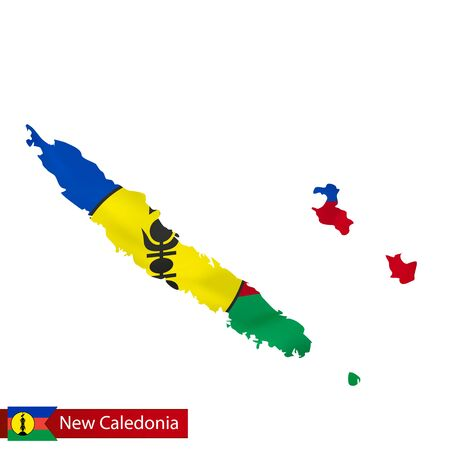 New Caledonia map with waving flag of country.