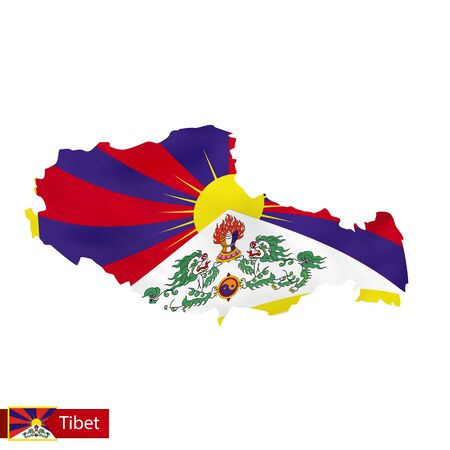 Tibet map with waving flag of country.