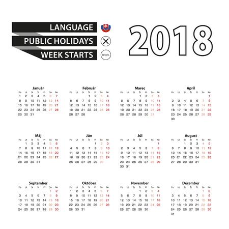 Calendar 2018 on Slovak language. Week starts from Monday. Simple Calendar. Vector Illustration.
