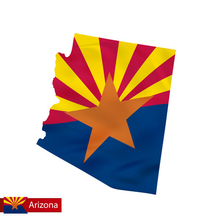 Arizona state map with waving flag of US State. Vector illustration.