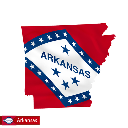 Arkansas state map with waving flag of US State. Vector illustration.
