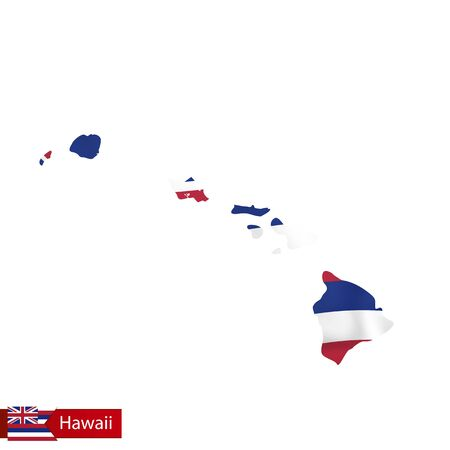 Hawaii state map with waving flag of US State. Vector illustration.