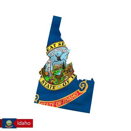 米国の州の旗を振ってアイダホ州マップ.ベクターイラスト。 写真素材 - 85581744