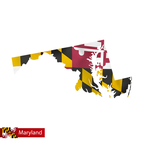 Maryland state map with waving flag of US State. Vector illustration. Illustration