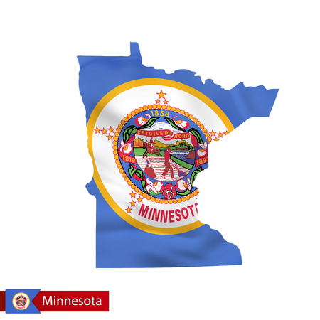 Minnesota state map with waving flag of US State. Vector illustration.  イラスト・ベクター素材