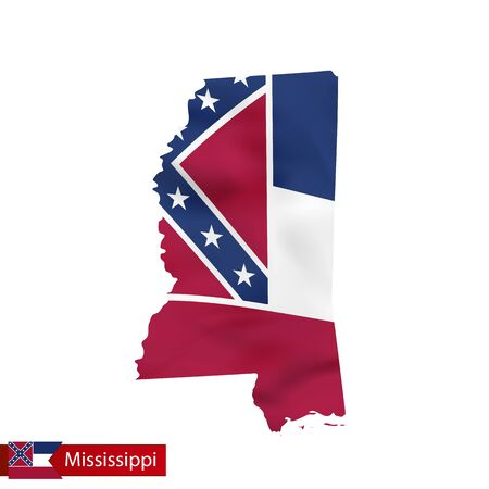 Mississippi state map with waving flag of US State. Vector illustration. Illustration