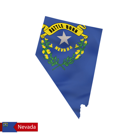 Nevada state map with waving flag of US State. Vector illustration.