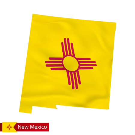 New Mexico state map with waving flag of US State. Vector illustration.