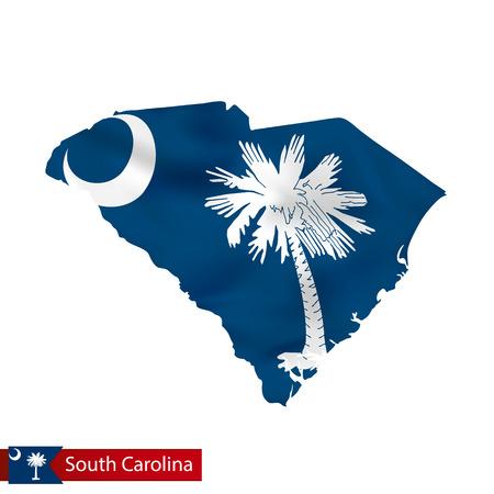 Mapa del estado de Carolina del sur con la bandera del estado de Estados Unidos. Ilustración vectorial Foto de archivo - 85581907