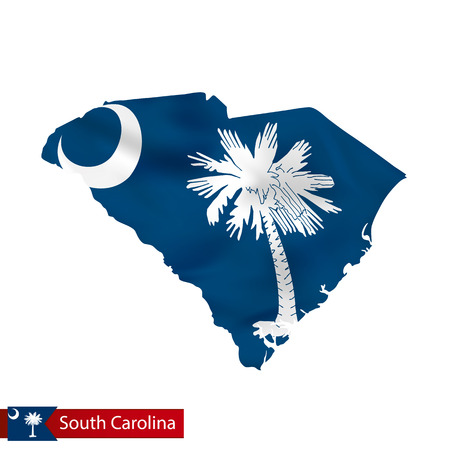 South Carolina state map with waving flag of US State. Vector illustration. Çizim