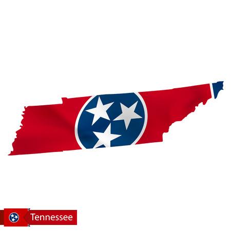 米国州の旗を振ってテネシー州のマップ。ベクターイラスト。