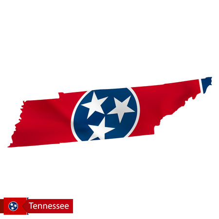 Tennessee state map with waving flag of US State. Vector illustration. Illustration