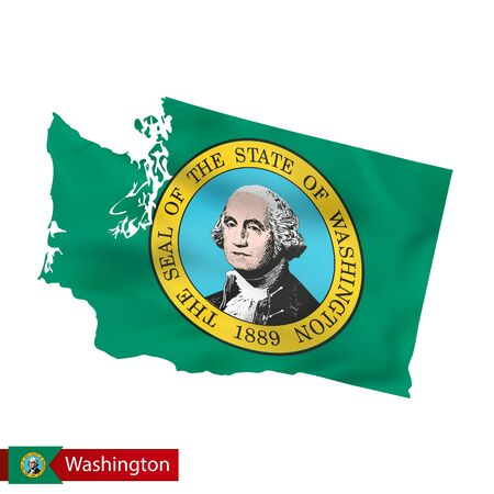 Washington state map with waving flag of US State. Vector illustration.