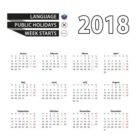 numbers: Calendar 2018 on Slovenian language. Week starts from Monday. Simple Calendar. Vector Illustration.