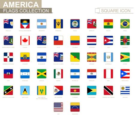ベネズエラのベクトル図のアンギラからアメリカの国旗を正方形します。  イラスト・ベクター素材