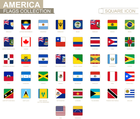 Square flags of America from Anguilla to Venezuela Vector Illustration. 向量圖像