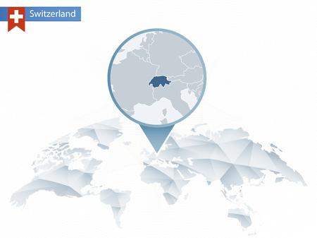 Abstracte afgeronde wereldkaart met vastgezette gedetailleerde kaart van Zwitserland. Kaart en vlag van Zwitserland. Vector illustratie. Stock Illustratie