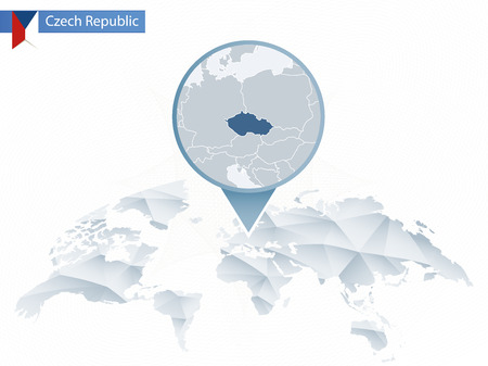 Abstract rounded World Map with pinned detailed Czech Republic map. Map and flag of Slovakia. Vector Illustration.