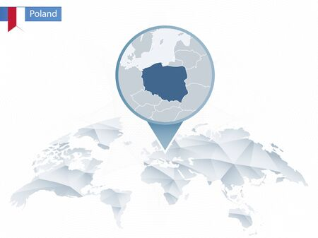 Abstract rounded World Map with pinned detailed Poland map. Map and flag of Poland. Vector Illustration.
