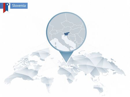 Abstract rounded World Map with pinned detailed Slovenia map. Map and flag of Slovenia. Vector Illustration.