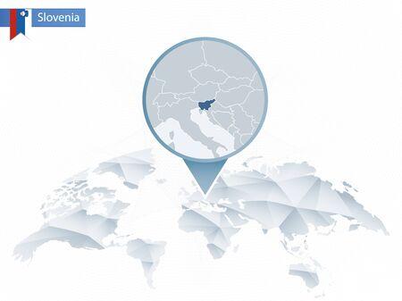 Carte du monde arrondie abstraite avec épinglé carte détaillée de la Slovénie. Carte et drapeau de la Slovénie. Illustration vectorielle