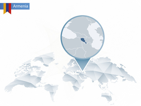 Abstract rounded World Map with pinned detailed Armenia map. Vector Illustration. Illustration