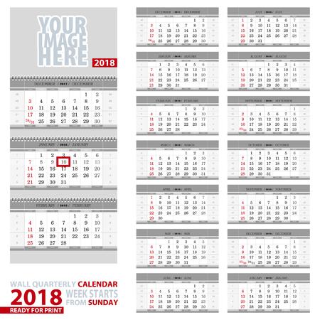 vector wall quarterly calendar 2018