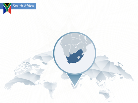Abstract rounded World Map with pinned detailed South Africa map.
