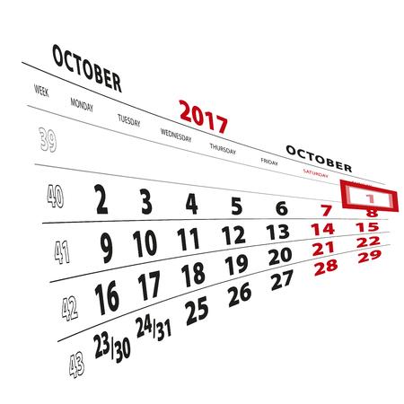 beginnings: 1 October highlighted on calendar 2017. Week starts from Monday. Vector Illustration. Illustration