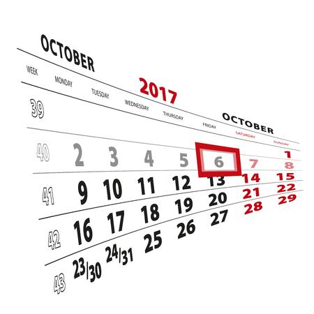 6 October highlighted on calendar 2017. Week starts from Monday. Vector Illustration. Illustration