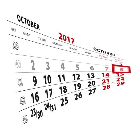 8 October highlighted on calendar 2017. Week starts from Monday. Vector Illustration.