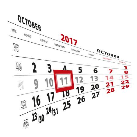 11 October highlighted on calendar 2017. Week starts from Monday. Vector Illustration.