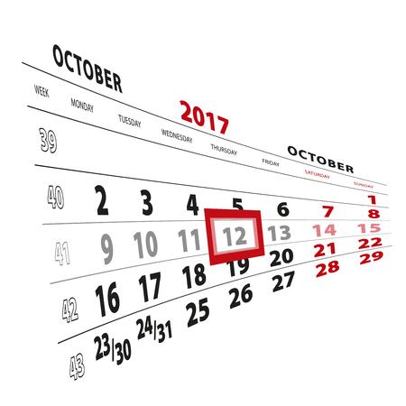 12 October highlighted on calendar 2017. Week starts from Monday. Vector Illustration.