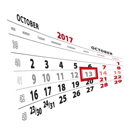 13 October highlighted on calendar 2017. Week starts from Monday. Vector Illustration. Illustration