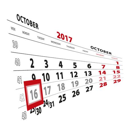 16 October highlighted on calendar 2017. Week starts from Monday. Vector Illustration.