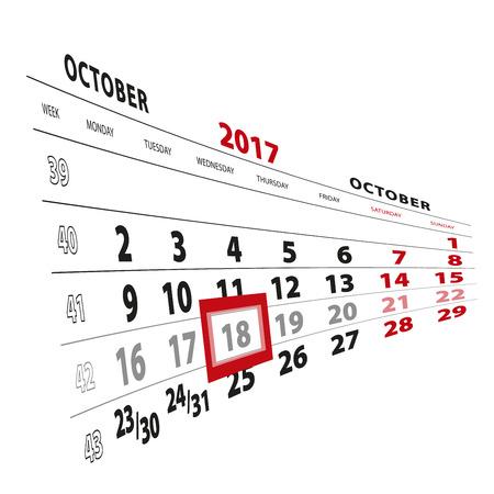 18 October highlighted on calendar 2017. Week starts from Monday. Vector Illustration.