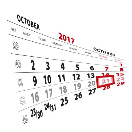 21 October highlighted on calendar 2017. Week starts from Monday. Vector Illustration.