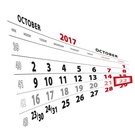 22 October highlighted on calendar 2017. Week starts from Monday. Vector Illustration.