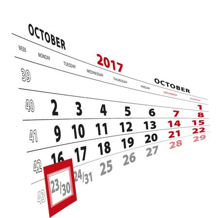 23 October highlighted on calendar 2017. Week starts from Monday. Vector Illustration. Illustration