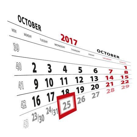 25 October highlighted on calendar 2017. Week starts from Monday. Vector Illustration. Illustration