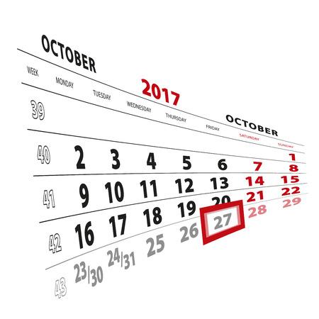 27 October highlighted on calendar 2017. Week starts from Monday. Vector Illustration.