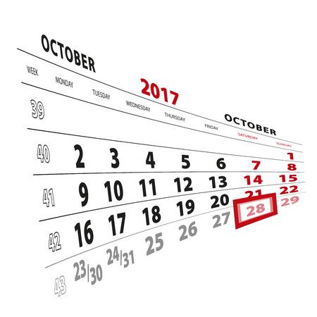 28 October highlighted on calendar 2017. Week starts from Monday. Vector Illustration. Illustration