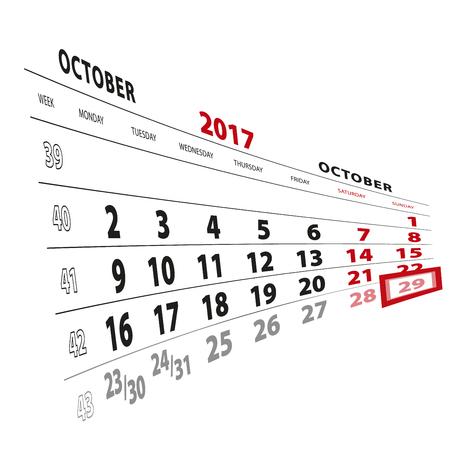 29 October highlighted on calendar 2017. Week starts from Monday. Vector Illustration.