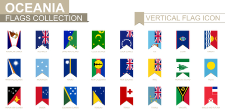 Vertical flag icon of Oceania. Oceanian countries vector flag collection.