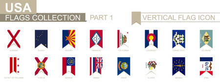 Vertical flag icon of U.S. states. USA state vector flag collection, part 1.