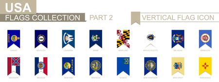 Vertical flag icon of U.S. states. Illusztráció