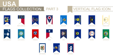 Vertical flag icon of U.S. states. USA state vector flag collection, part 3.