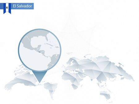 Abstract Rounded World Map With Pinned Detailed El Salvador Map