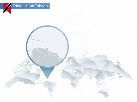 Abstract rounded World Map with pinned detailed Trinidad and Tobago map. Vector Illustration.
