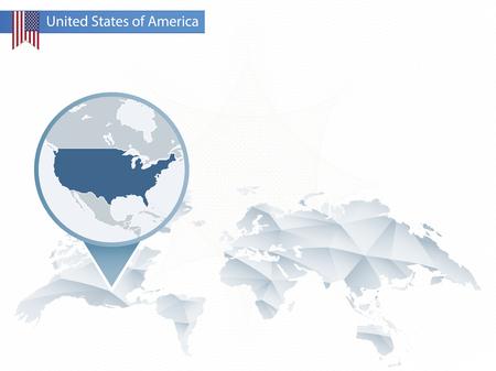 추상 반올림 된 미국지도와 세계지도 반올림. 지도 및 미국의 국기입니다. 벡터 일러스트 레이 션. 일러스트